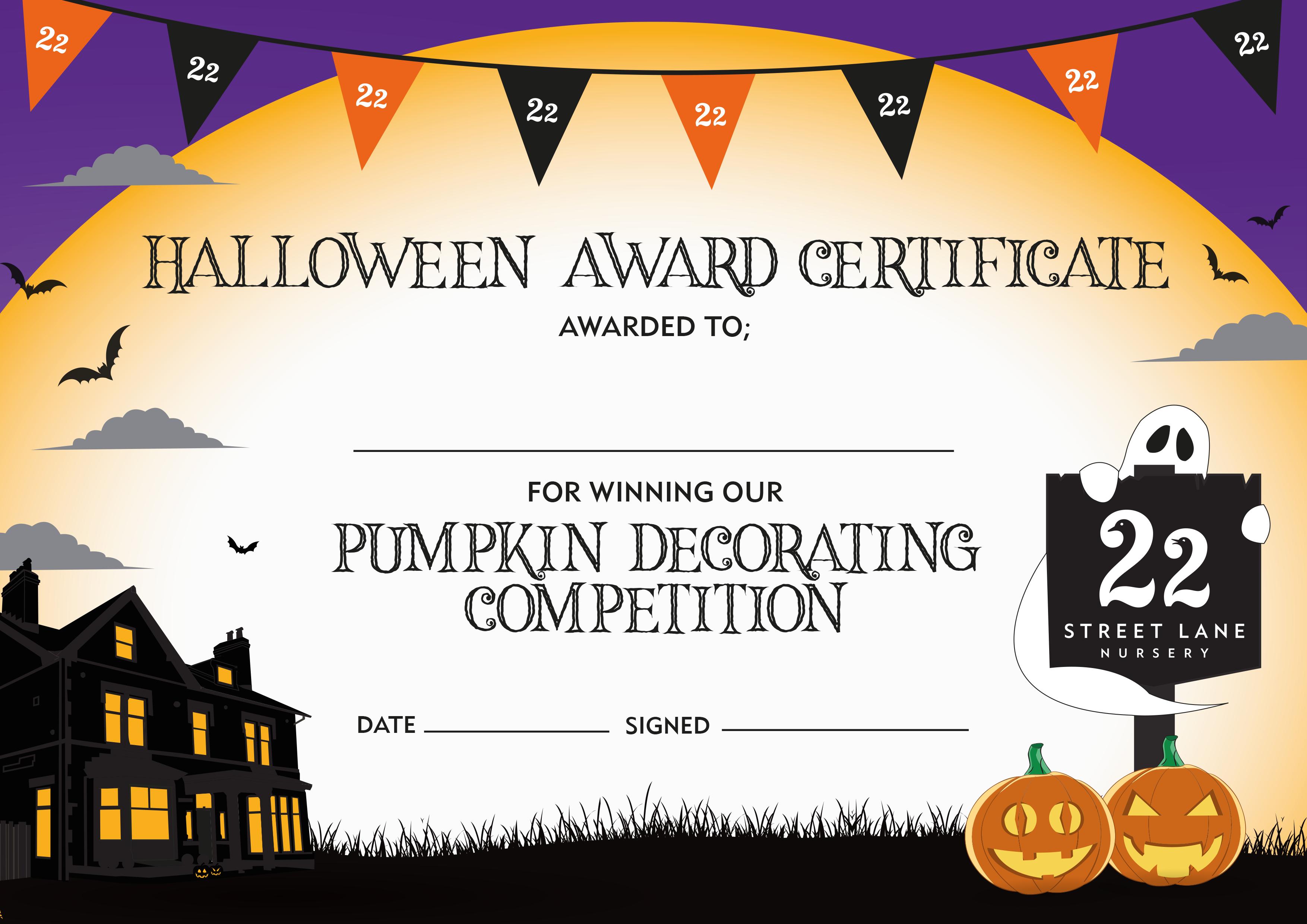 Halloween Award Certificate Pumpkin Decorating Competition Pumpkin Halloween Decorations Pumpkin Decorating Pumpkin Decorating Contest