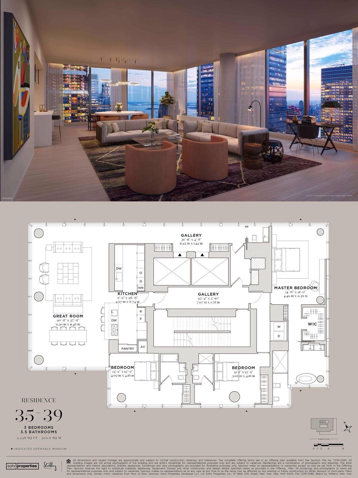 45 Park Place 35th Fl 35th Fl In Tribeca Manhattan Streeteasy Architectural Floor Plans Modern House Floor Plans Home Building Design