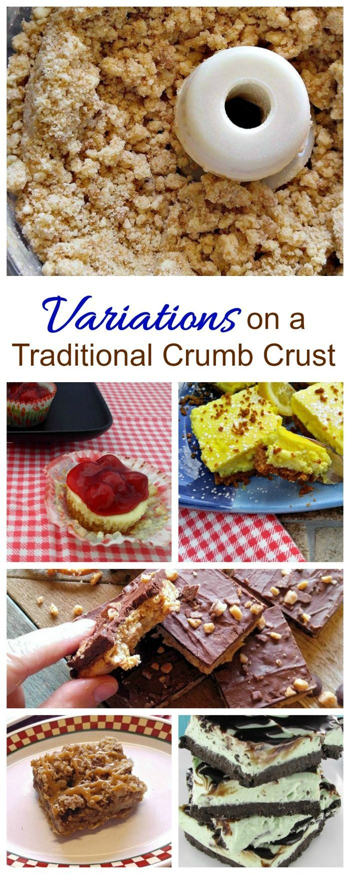 Variations on a crumb crust - graham cracker crust, pretzel crust, oatmeal crust, and Oreo crust are all good choices