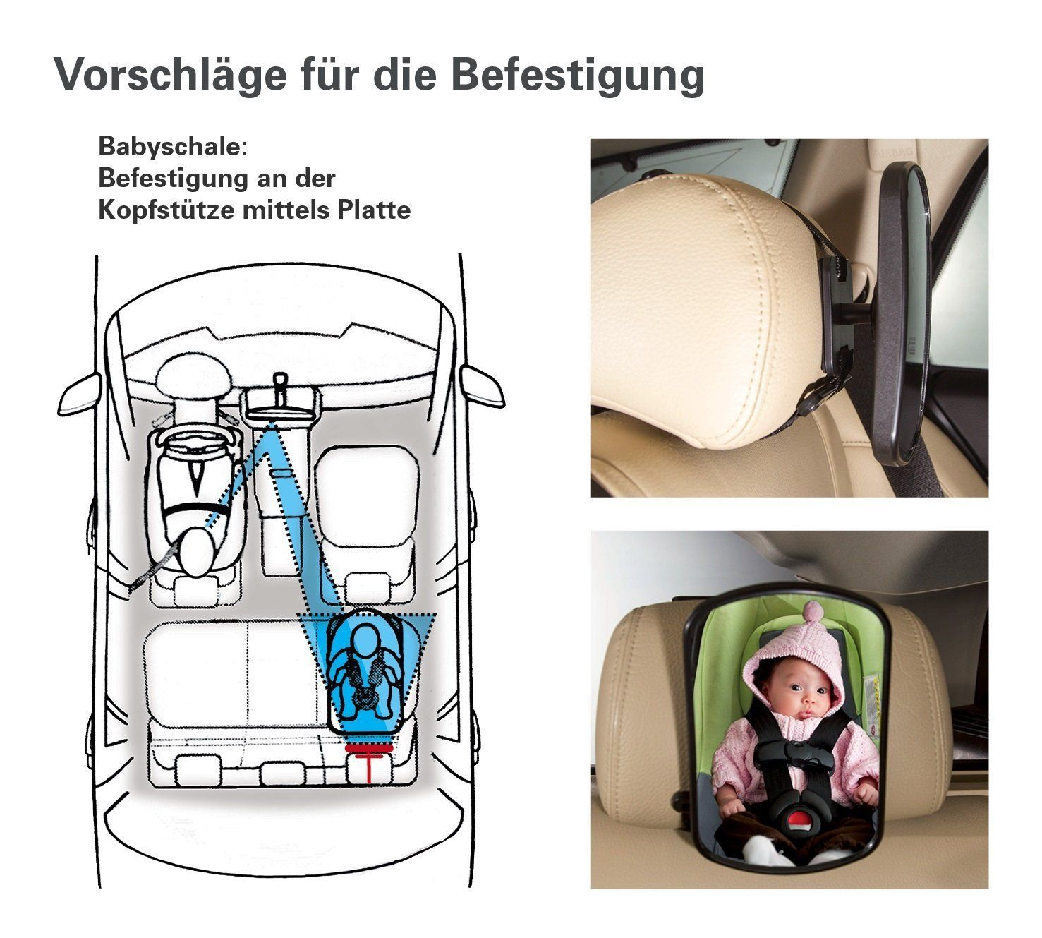 Rücksitzspiegel für Babys mit 2 Befestigungsvarianten