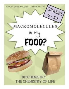 This document reviews the properties of the four biological macromolecules and provides students with a chance to observe which types of foods contain each macromolecule. Perfect for a real life application to your biochemistry unit!Students will need to bring in a food label (or several!) and add it to the class collection.