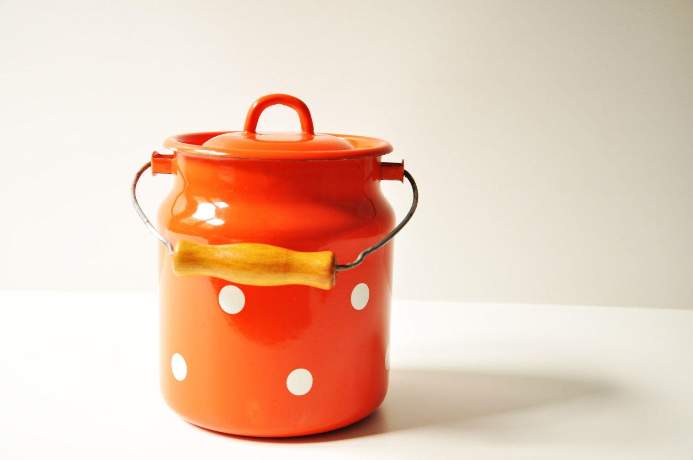 Vintage Enamel Polka Dot Milk Can - Orange - Red Enamelware - Cottage Chic - Farmhouse Kitchenware by thelittlebiker on Etsy https://www.etsy.com/listing/228186580/vintage-enamel-polka-dot-milk-can-orange
