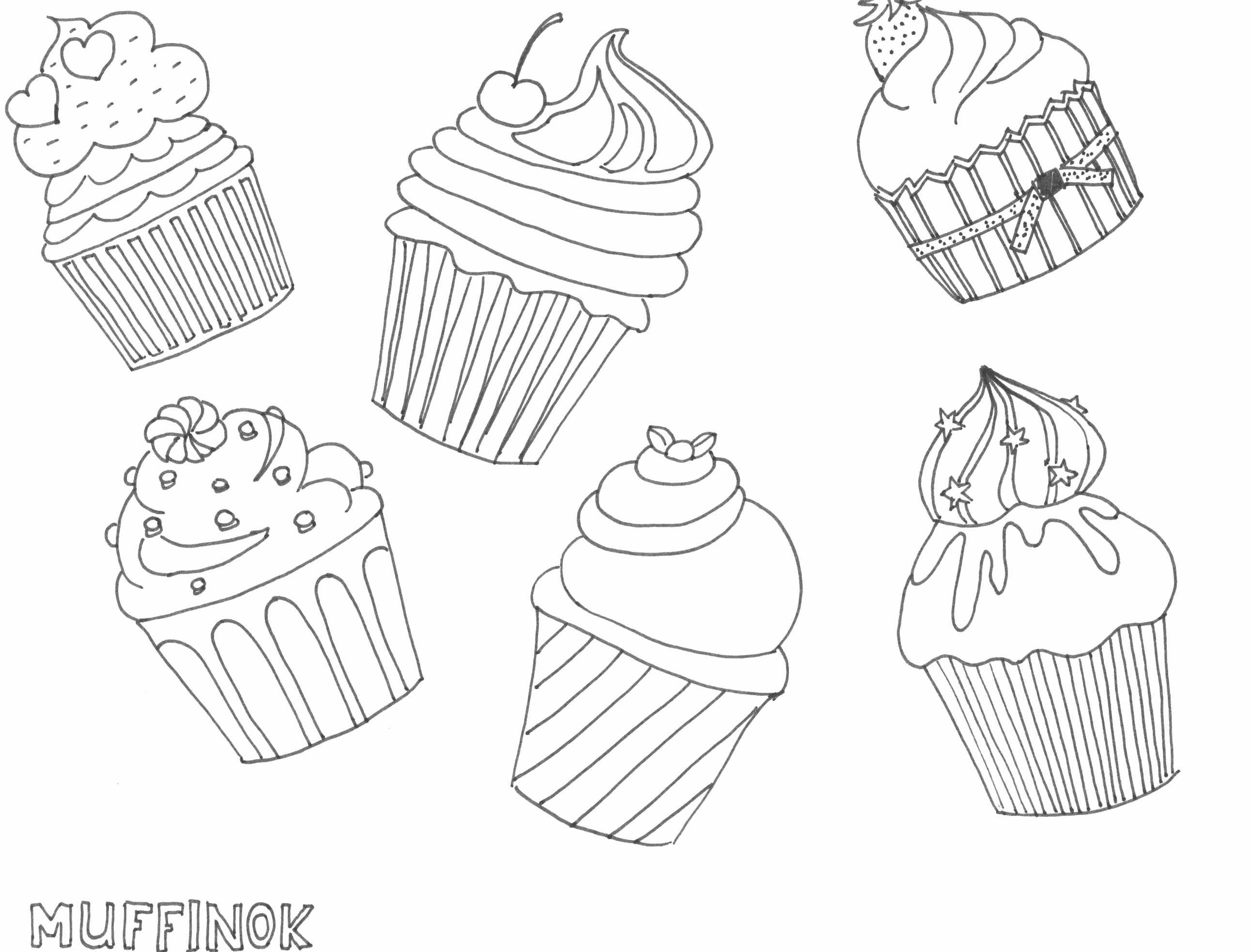 Muffin Rajz Drawing Muffin Coloring Page Szinezo With Images
