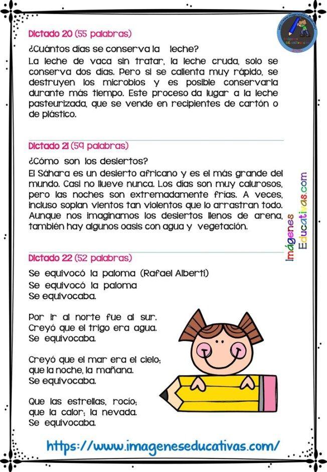 30 Dictados Para Primaria 1º 2º Y 3º Ciclo Para Enseñar A Escribir El Maestro Planifi Material Educativo Primaria Lectura De Comprensión Actividades Escolares