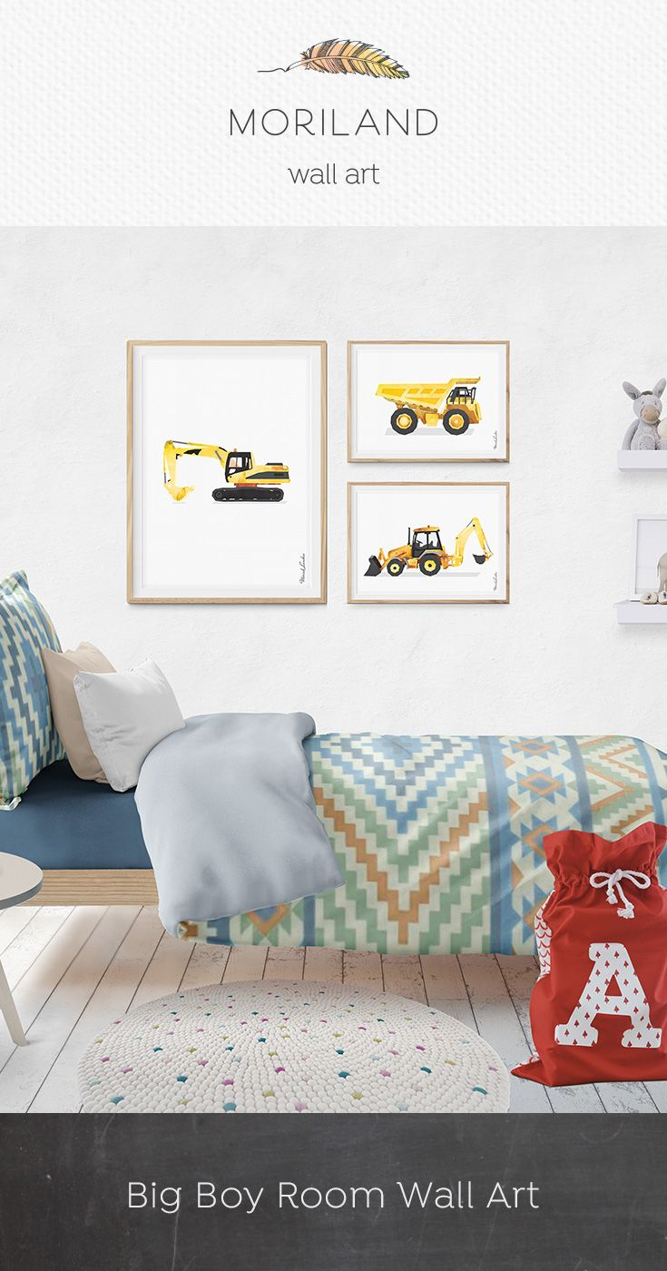 Excavator Print Digger Art Construction Print Toddler Room