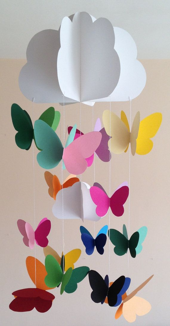 Baby crib, nursery mobile, decorative hanging for party, decoration with clouds and butterflies sewn with colored paper, handmade, 3D #butterflies