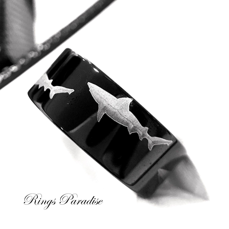 wedding band men s tungsten ring shark ring custom engraved