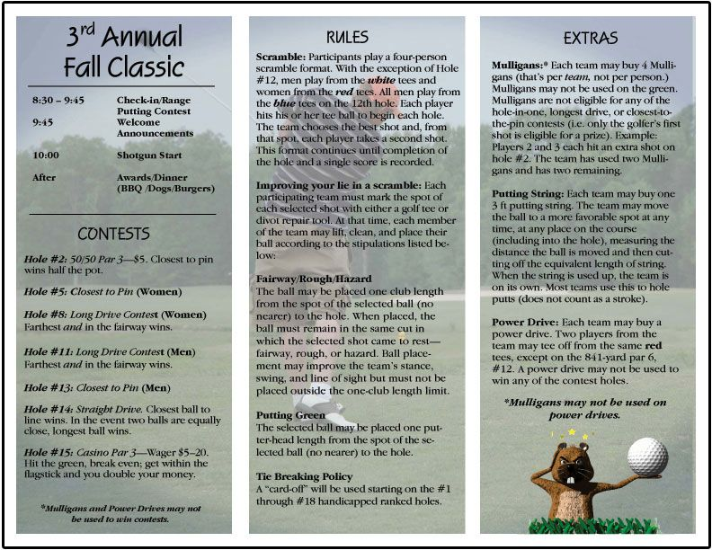 Golf Tournament Brochure | Church Golf Outings | Pinterest