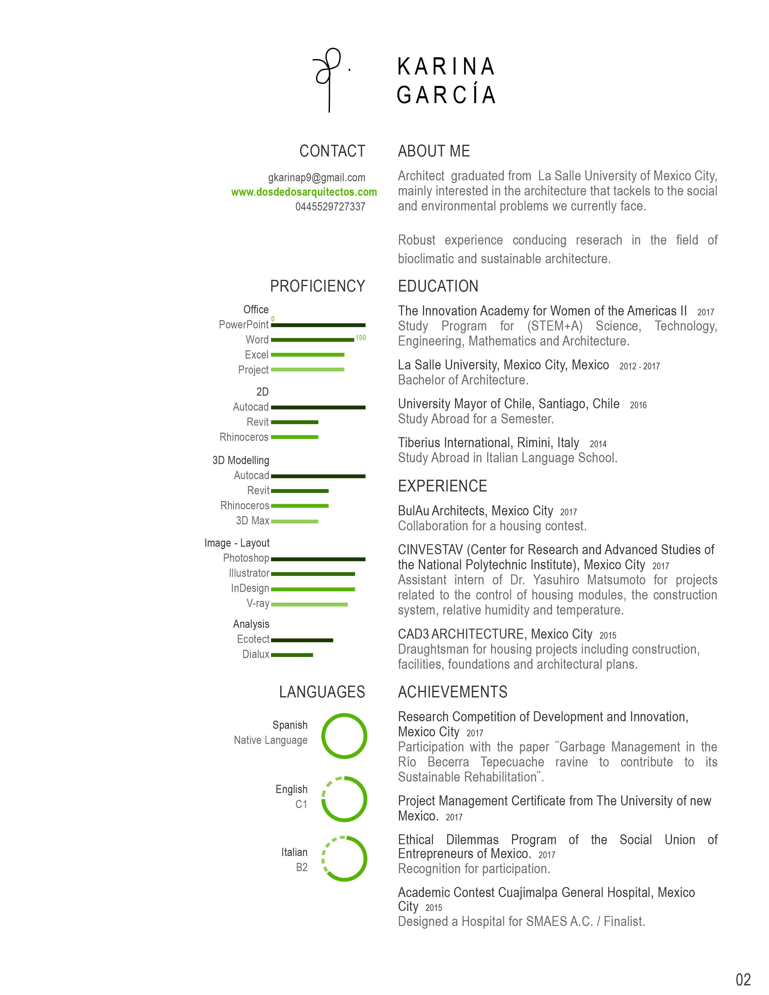 curriculum vitae arquitectura grado en arquitectura arquitecta mxico cv verde