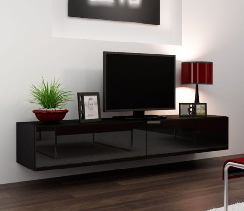 Black Gloss Tv Stands For  75 Inch Flat Screen Tv Cabinets With Doors