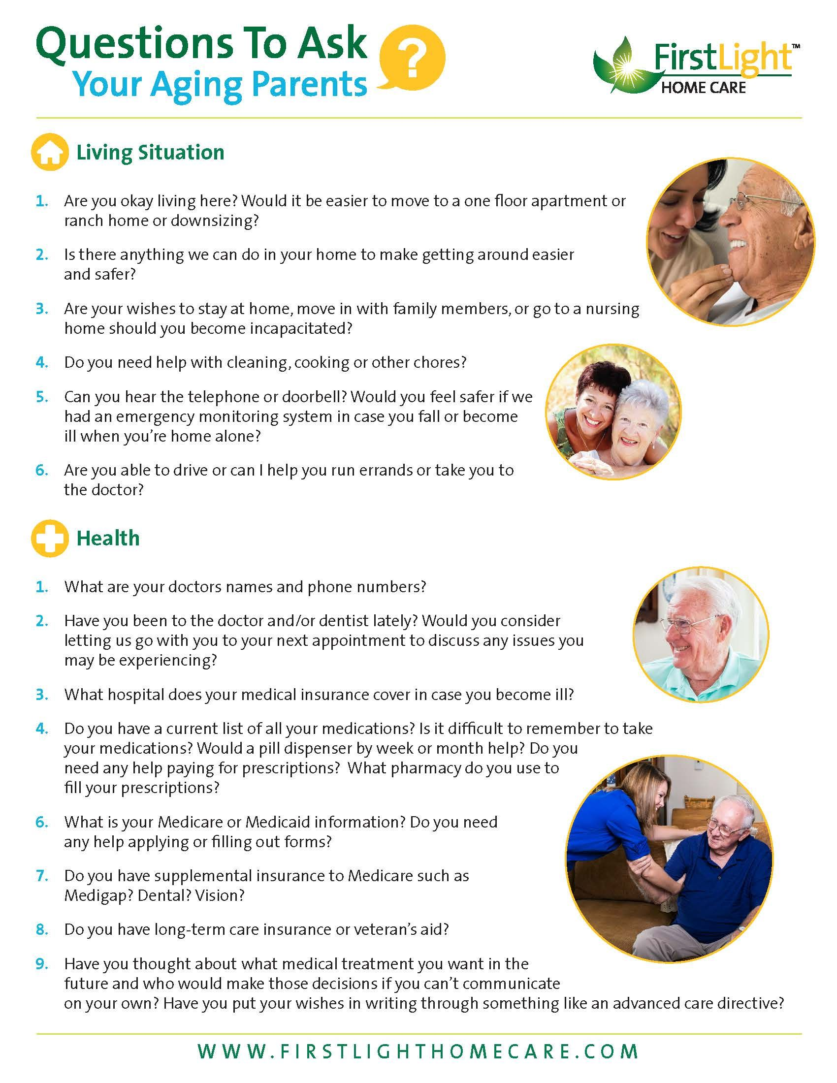 Questions To Ask Your Aging Parents Firstlight Home Care Aging