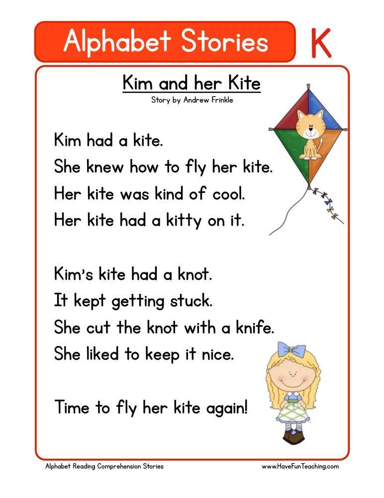 Alphabet Stories Letter K Reading Comprehension Worksheet Reading Comprehension Kindergarten Reading Comprehension Phonics Reading