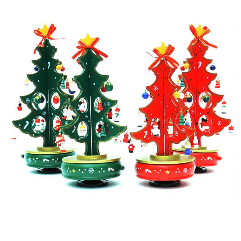 Wood Christmas Tree Children Xmas Gift Mini Table Christmas Tree - how to decorate a small christmas tree