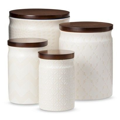 High Quality Thrshd Canister With Wood Lid Cream : Target