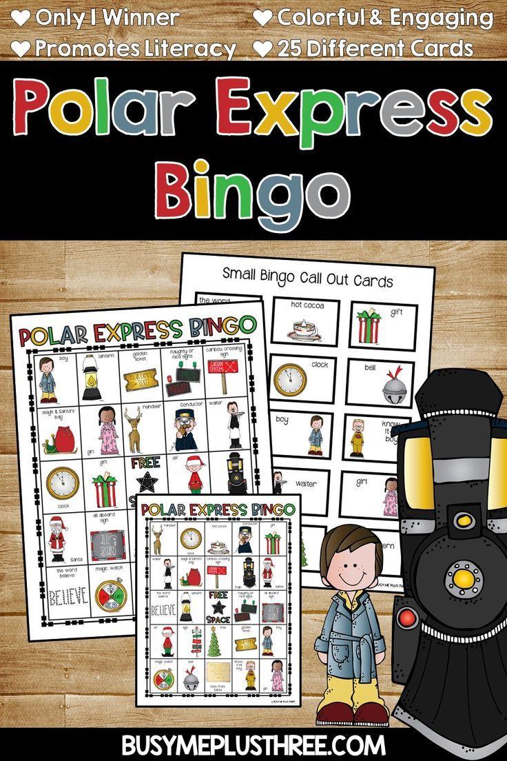 POLAR EXPRESS BINGO Game Activity {25 Different Bingo