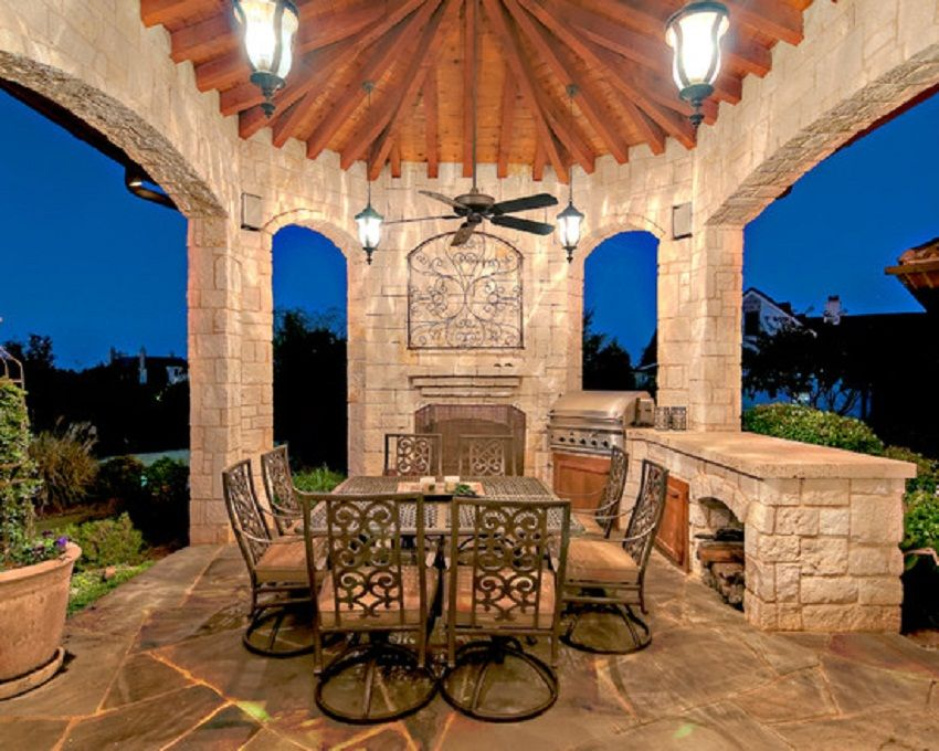 Nice Small Size Tuscan Outdoor Kitchen Decor Ideas Stone Patio Designs Patio Design Patio Gazebo