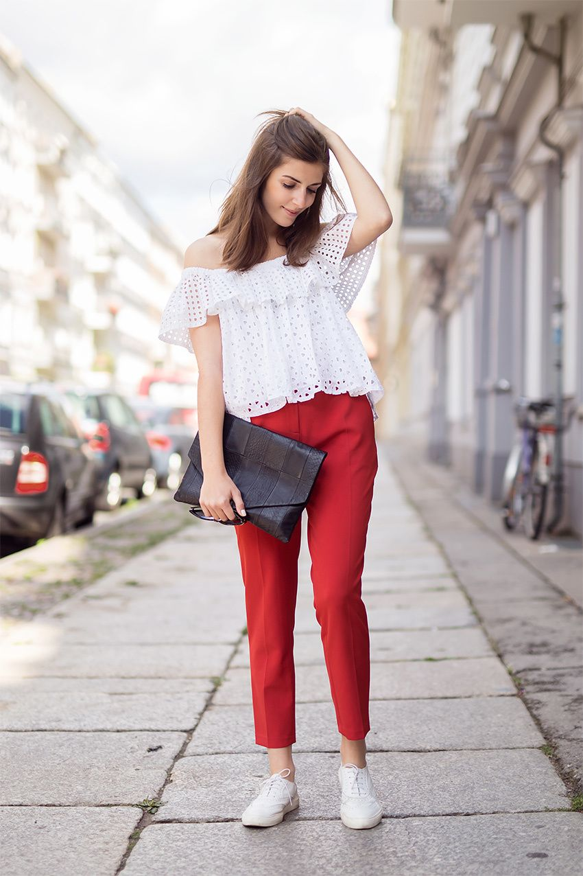 """Pin De Mileydi En Ͻ""""tyle Outfit Pantalon Rojo Outfit Pantalon Rojo Mujer Pantalon Rojo Mujer"""