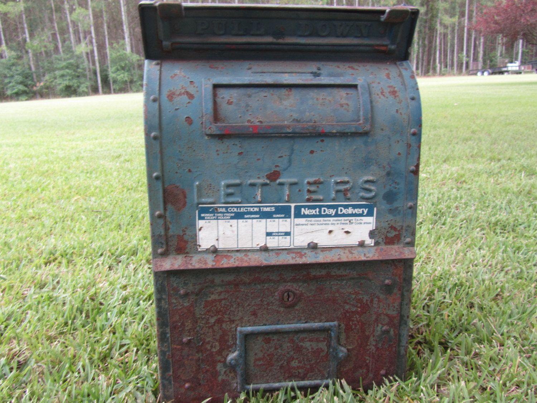 Vintage Metal Post Office Drop Off Box Mail Us Postal