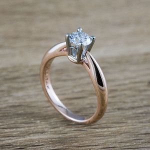 Arch Handcrafted Rose And White Gold Engagement Ring Set With Conflict Free Canadian Diamond