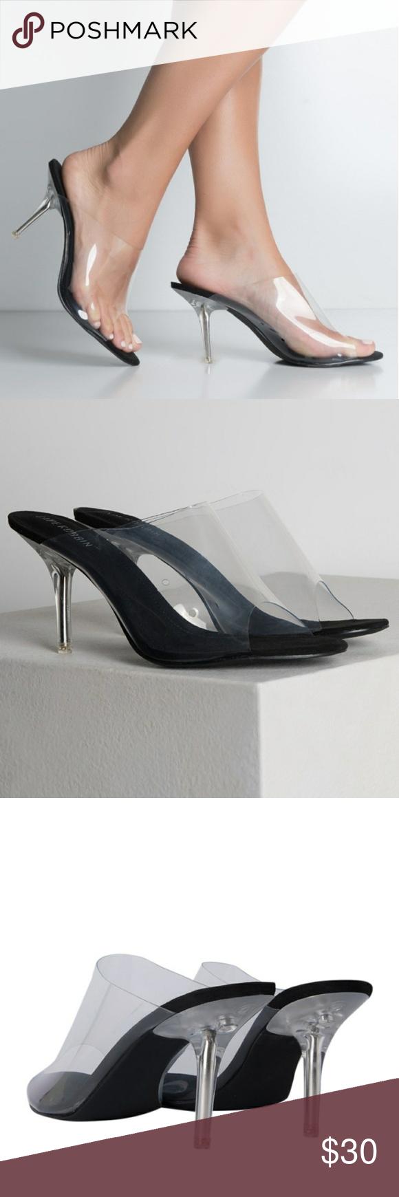Black Perspex Mule Heel Size 11 | Heels