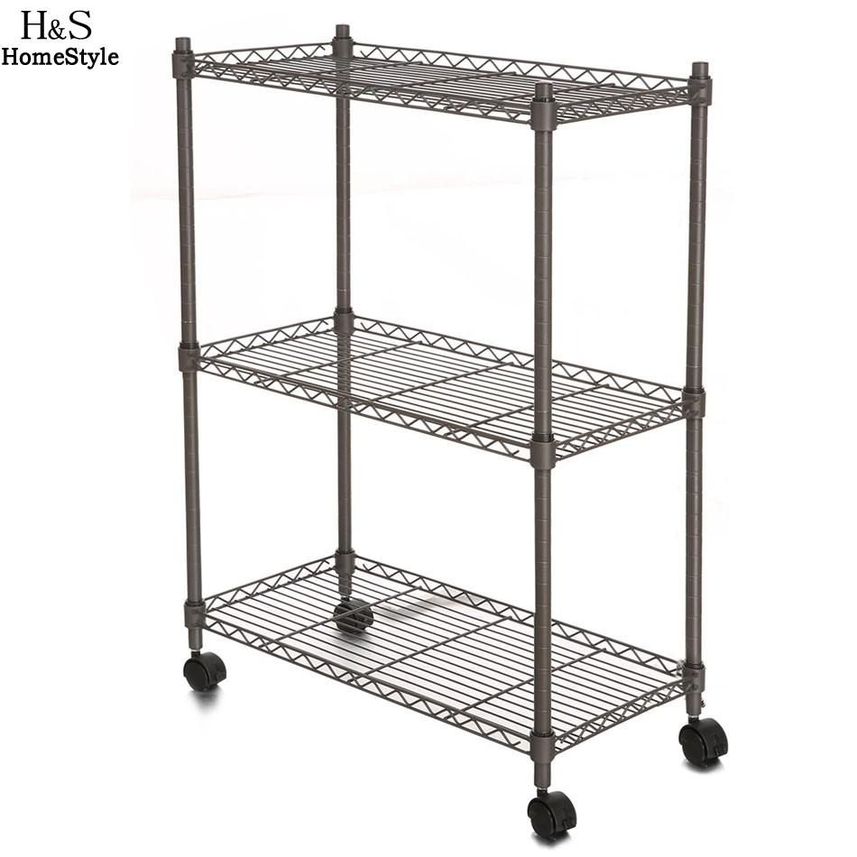 Homdox 23.4 x 11.7 x 33.5 inch 3-Tier Metal Wire Shelf Shelving Unit ...