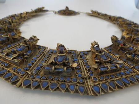 Vtg 60s Goddess Temple Dancer Brass India Necklace