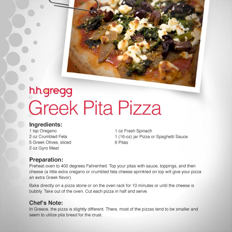 new kind of pizza with this Greek Pita Pizza that includes Greek ...