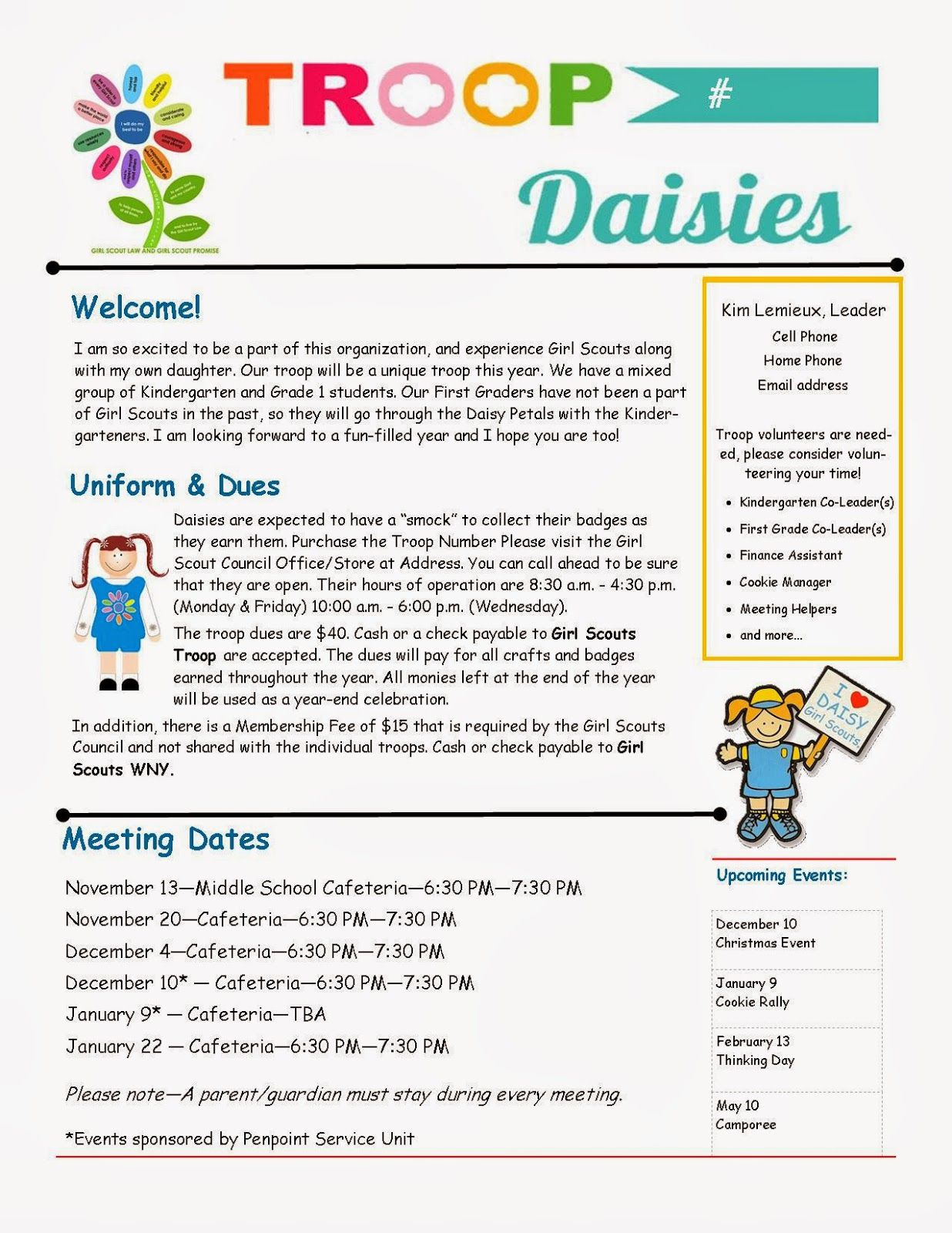 Daisy troop parent newsletter template girl scouts for Girl scout calendar template