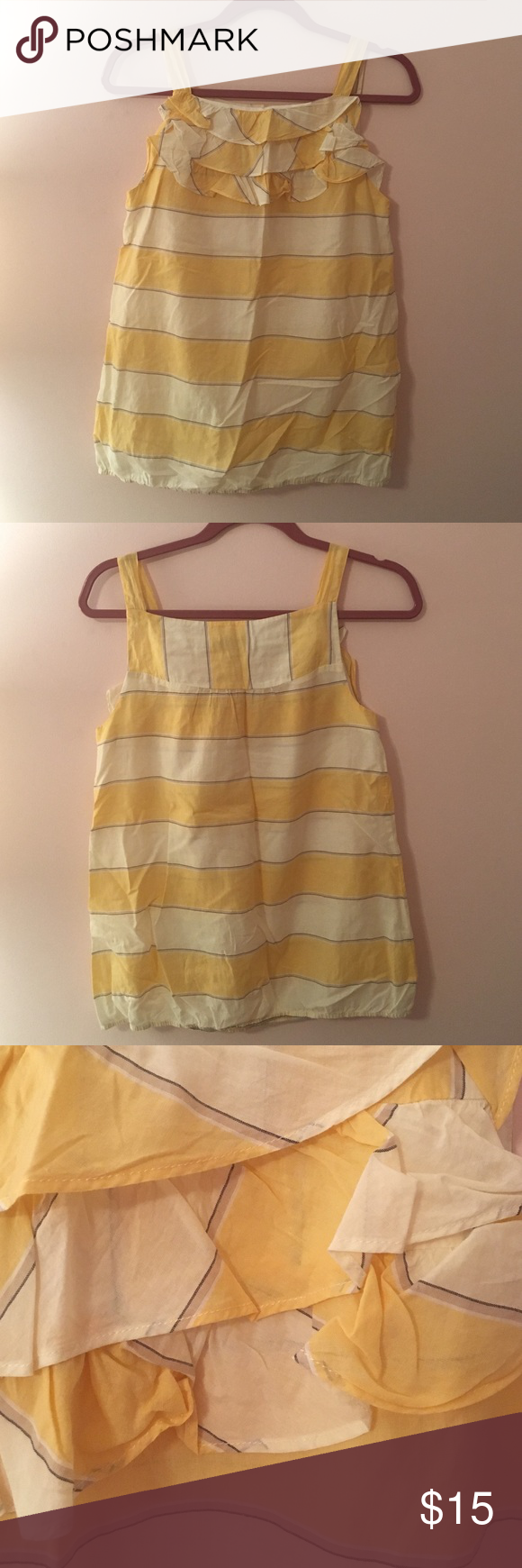 Loft striped tank with ruffle detail Yellow, cream, grey and blue striped tank with gathered bottom LOFT Tops Tank Tops