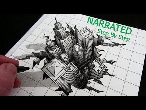 How To Draw A Hole 3d City Optical Illusion Narrated Step By Step