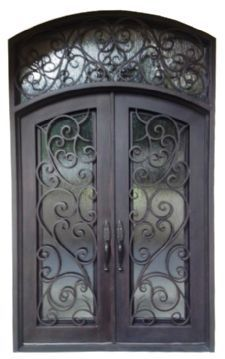 Iron Doors 15 72 X96 Wrought Iron Doors 8mm Clear Glass 12 Gauge Steel 8mm Rain Glass Fixed Shipping Usa Home Address 3700 Iron Entry Doors Wrought Iron Front Door Wrought Iron Doors