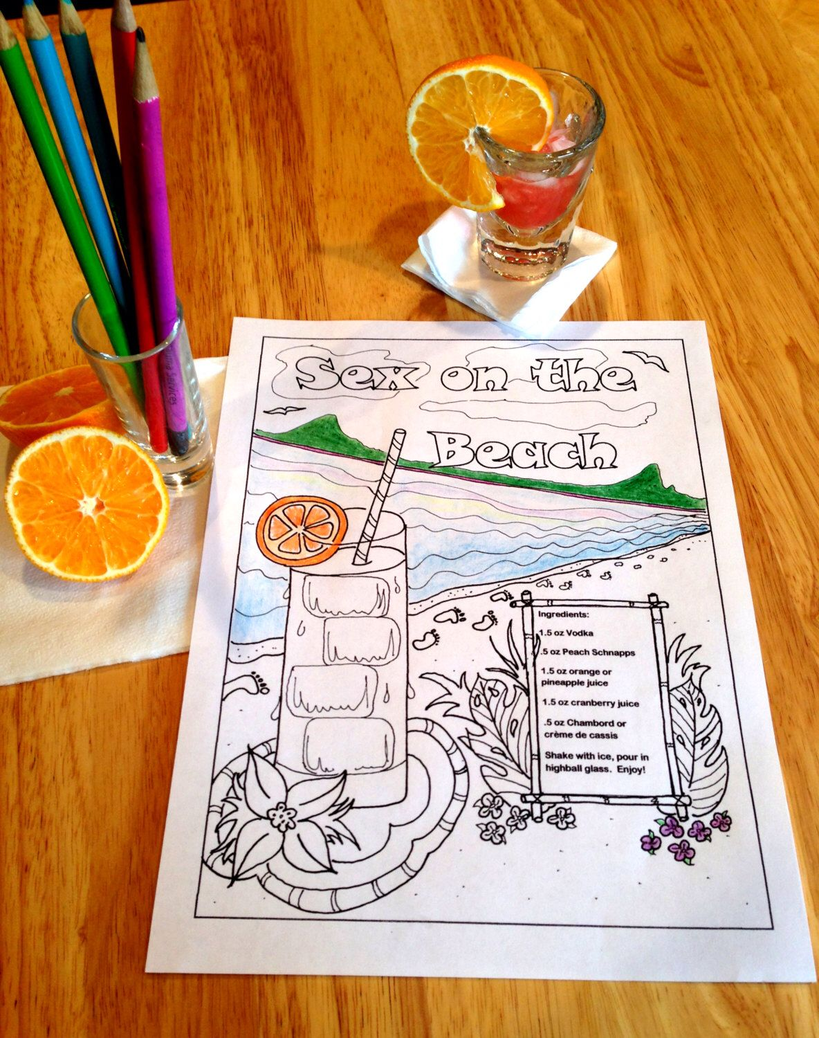 Printable coloring pages etsy - Printable Coloring Page For Adults Sex On The Beach Cocktail Coloring Instant Download Recipe Included