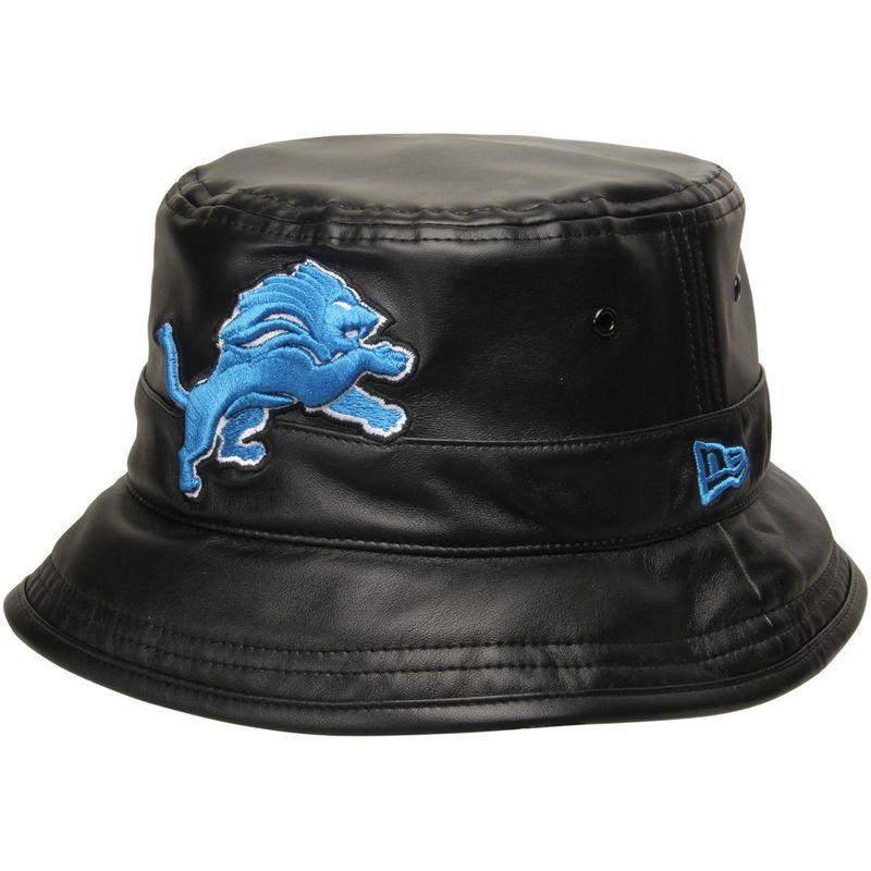 b9418648c Detroit Lions New Era Faux Leather Bucket Hat - Black | Products ...