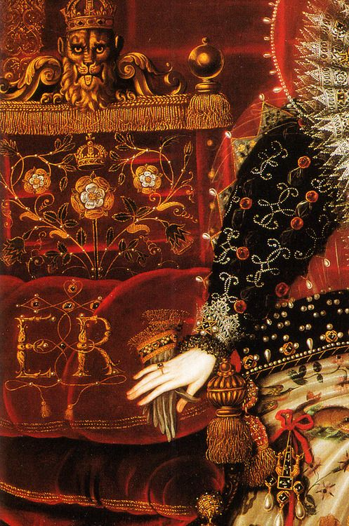 Detail from The Hardwick Portrait of Elizabeth I of England. By Nicholas Hilliard, 1599.