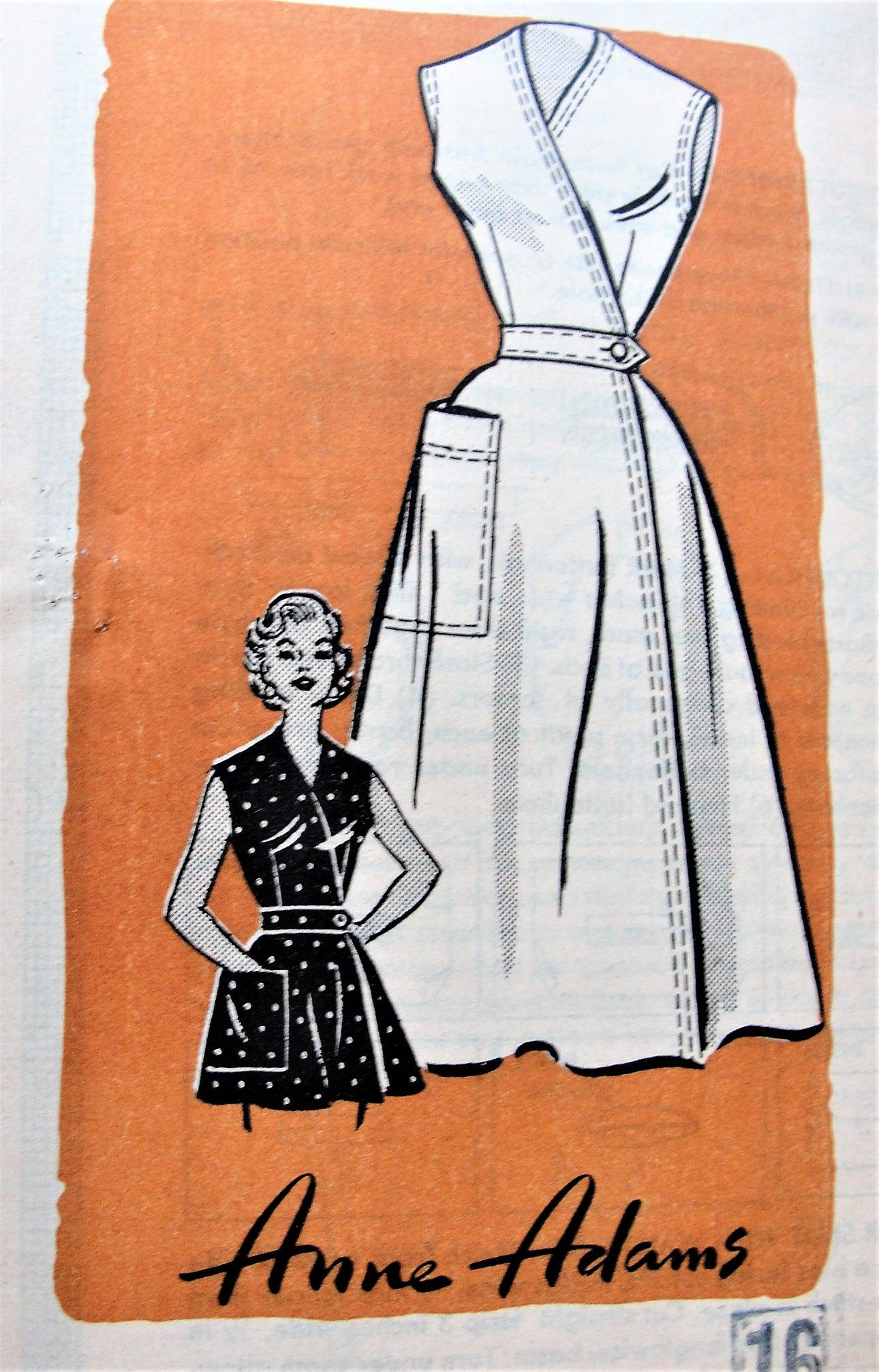 1950s Cute Wrap Dress Or Apron Pattern Rockabilly Dress Pattern Vintage Wrap Dress Vintage Dress Patterns [ 2013 x 1290 Pixel ]