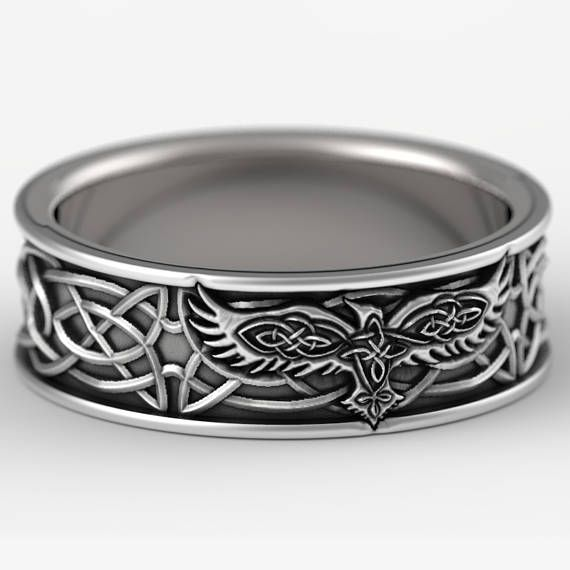 Sterling Silver Celtic Raven Ring Raven Wedding Band Mens Wedding