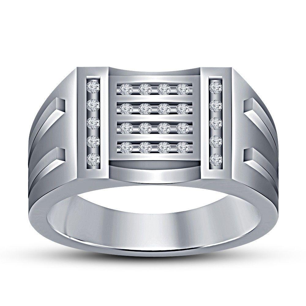 10k white gold 100 ct round diamond mens wedding