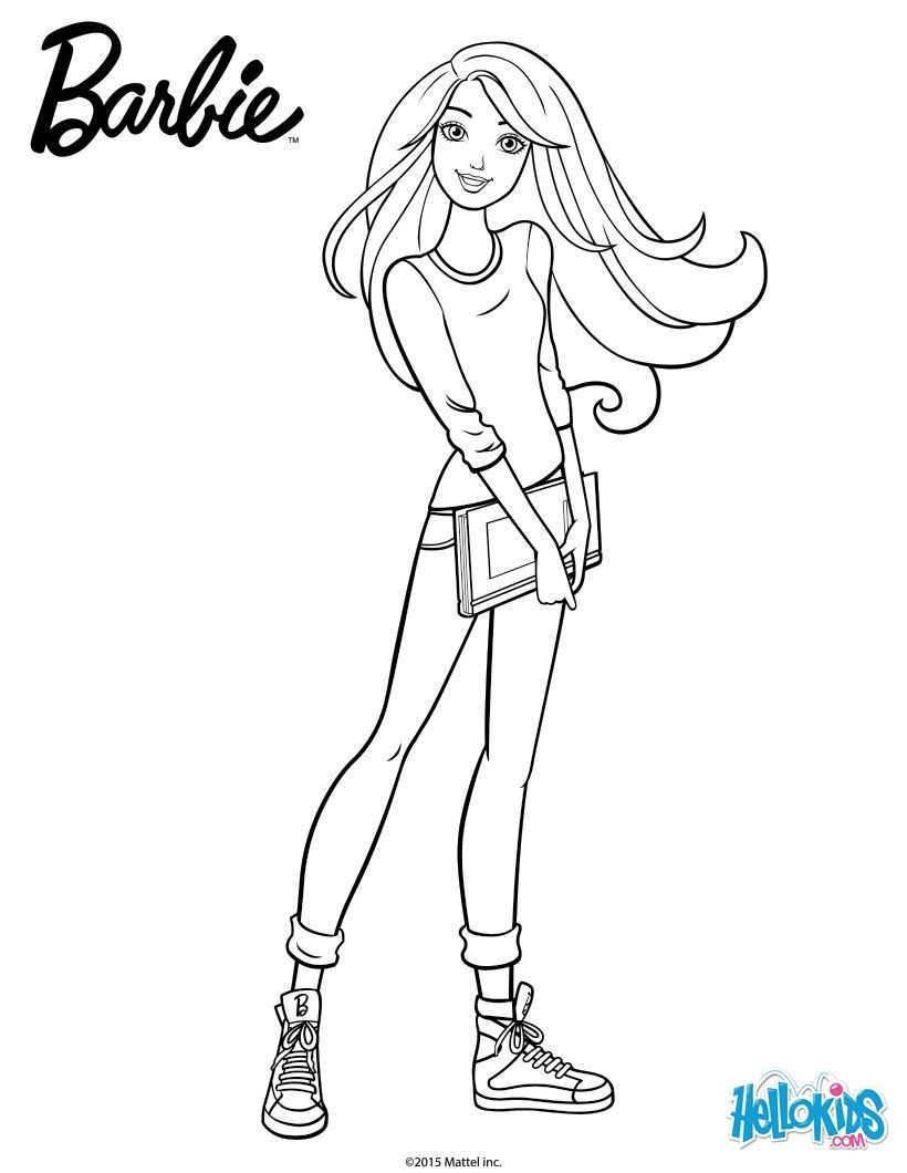 Barbie Looks Great With Her Books You Can Color Free Barbie Coloring Pages From Hellokids Print Barbie Coloring Pages Barbie Coloring Princess Coloring Pages
