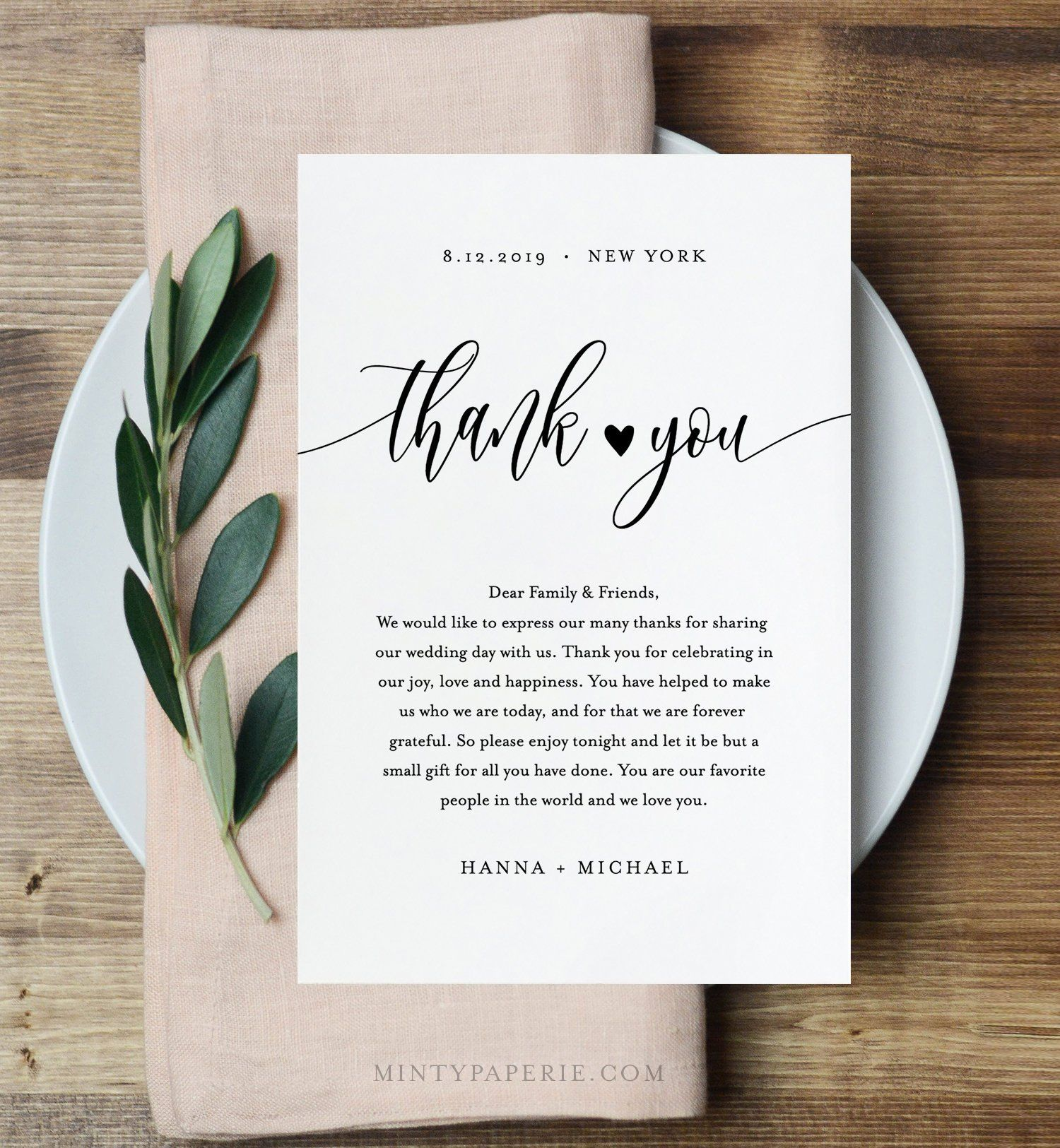 Thank You Note Template, Rustic Wedding In Lieu of Favor