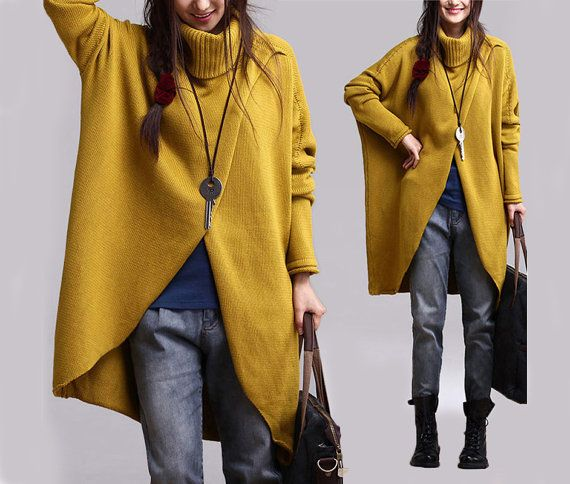 Women Yellow Sweater Irregular Turtleneck Bat Sleeve Pull Over ...