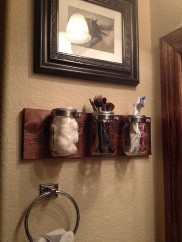 Mason Jar Wood Accessories Holder Wall Home Decor Diy