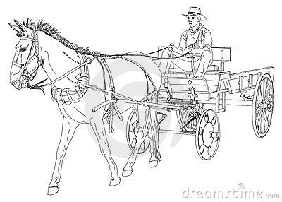 Cowboy Rides In A Wagon Pulled By A Horse Horse Coloring Pages Vector Drawing Horse Wagon