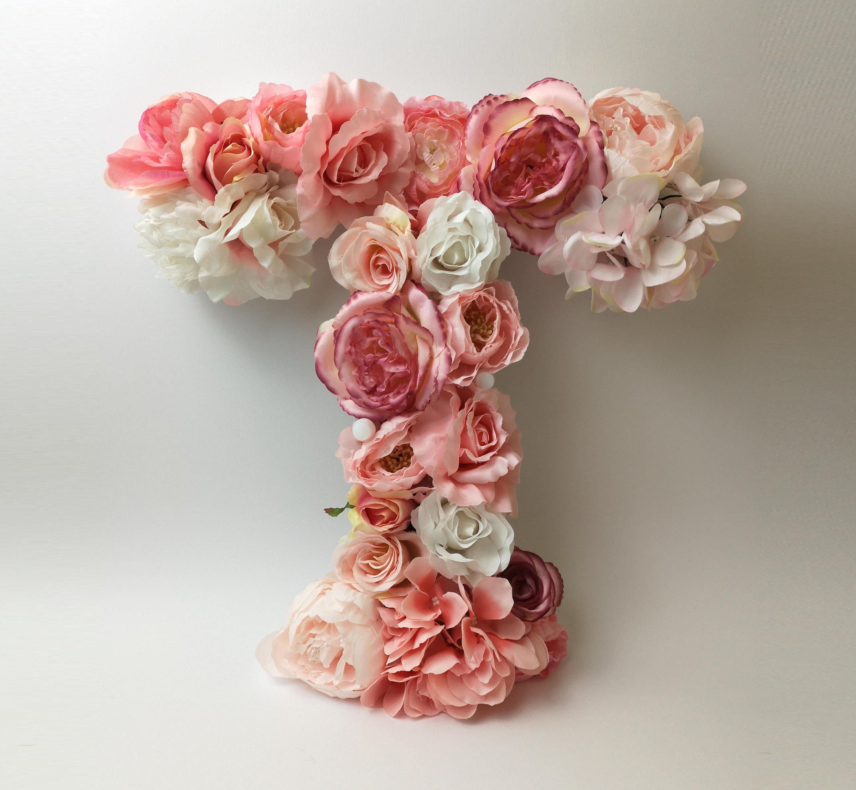 Nursery//Wall Decor Artificial Flower Letter//Name Floral Letters//Initials//Name