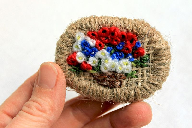 """Brooches – Embroidered brooch """"Bouquet"""" – a unique product by Goxua on DaWanda"""