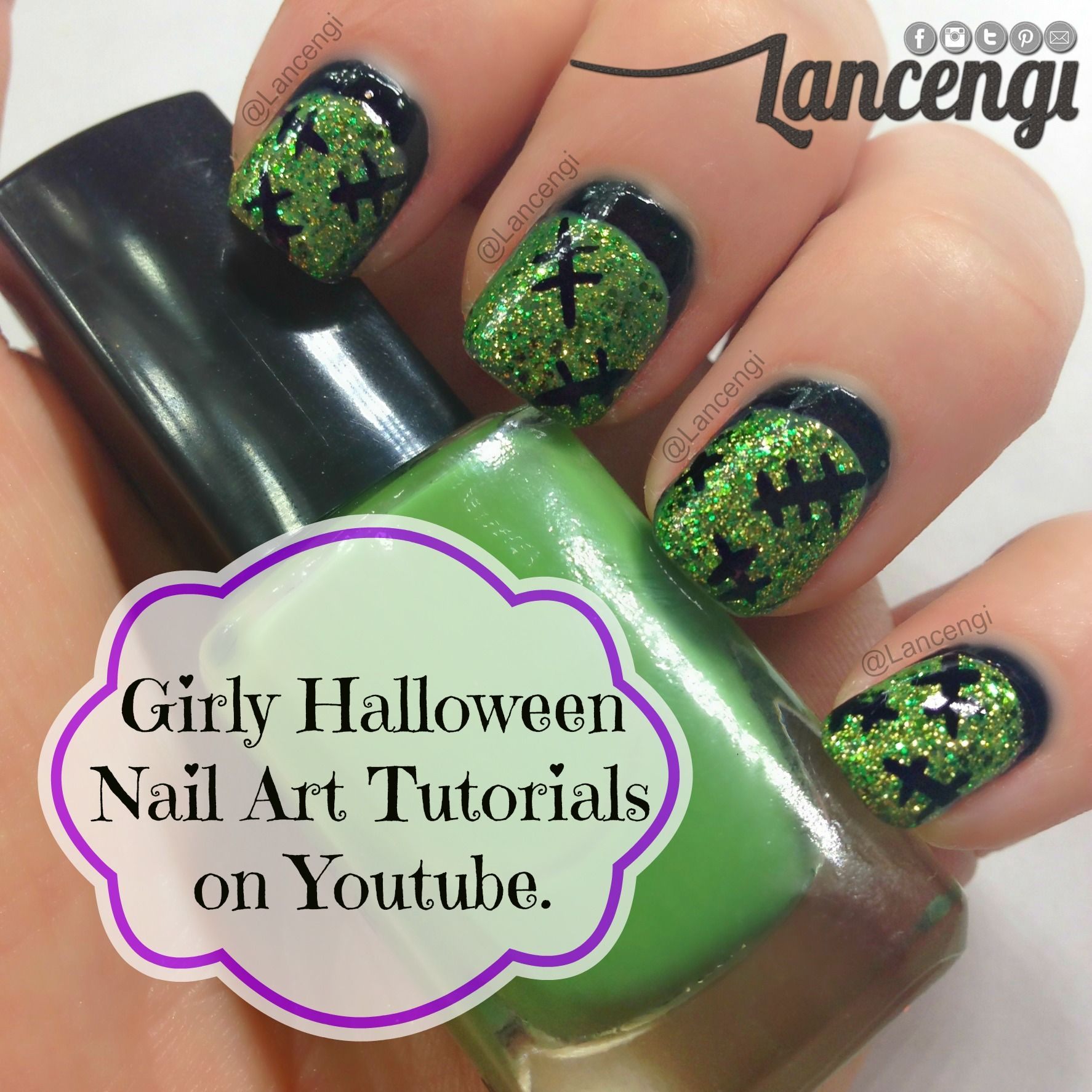 Glittery Frankenstein Halloween Nail Art Designs - green ...