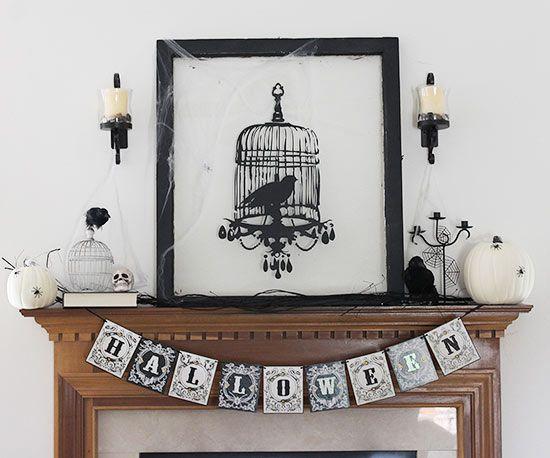 25+ Stylishly Spooky Halloween Mantel Ideas Halloween window and