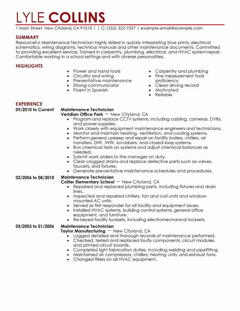 Computer Technician Job Description Resume Awesome Maintenance Technician Resume Sample Technician Res Job Resume Examples Good Resume Examples Resume Examples