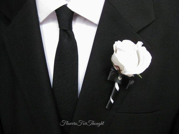 Black And White Rose Boutonniere On Suit Mens Buttonhole Flower Wedding Decoration Or Favor White Boutonniere White Rose Boutonniere Wedding Suits Men Black