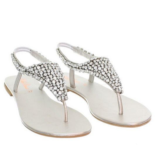 Formal Flat Silver Sandals For Wedding