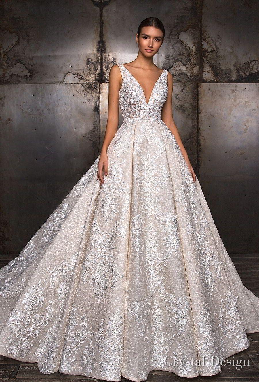 Crystal design sleeveless deep v neck full embellishment